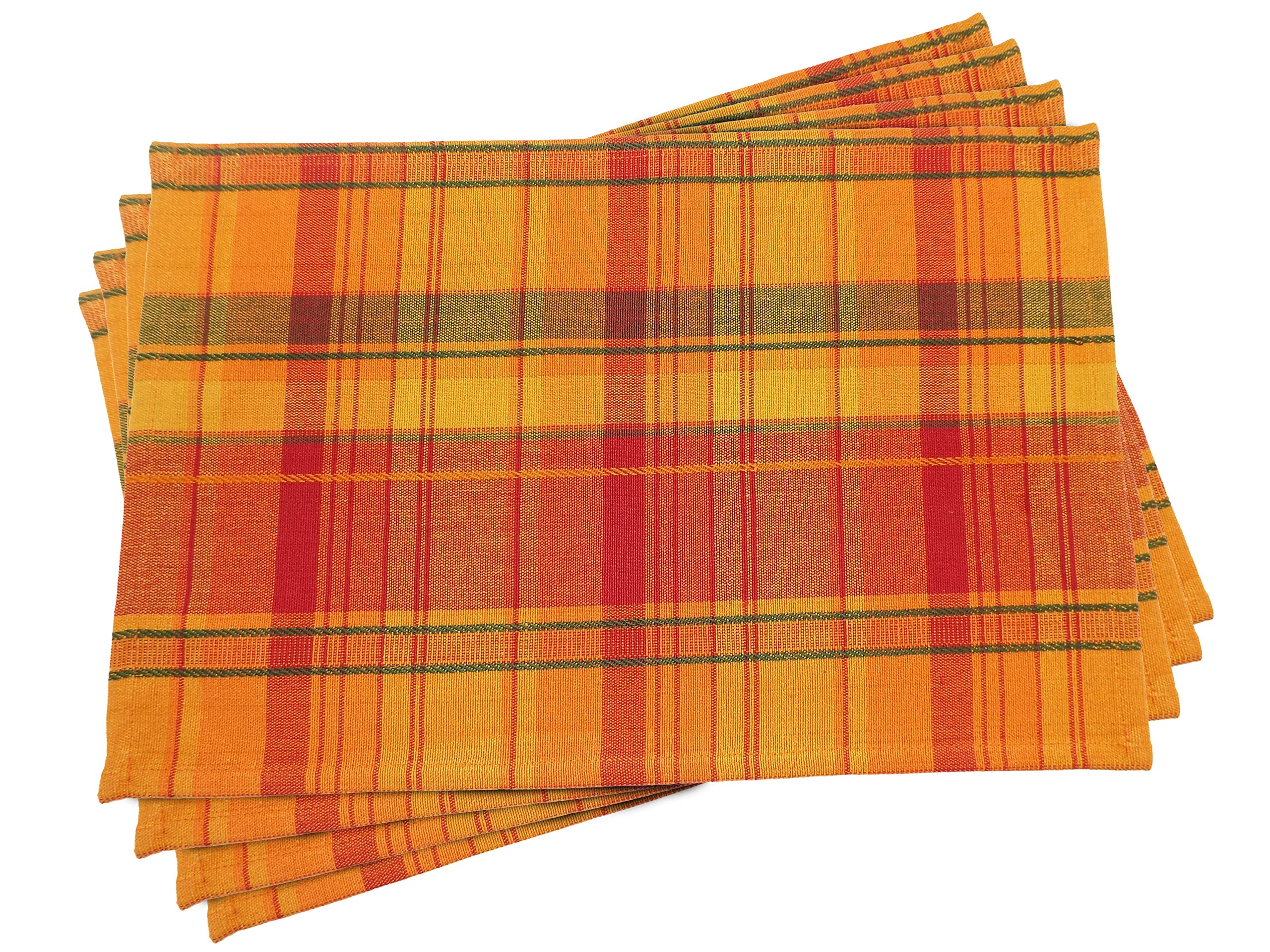 Fall Harvest Plaid Placemats - Set of 4 - 13 x 19 Inches by Bristola Home Designs (Image #1)