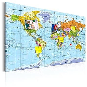 Murando   Deutsche Weltkarte Pinnwand U0026 Leinwand Bild 120x80 Cm   1 Teilig    Wandbilder Als