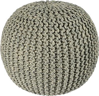 Pouf Ottoman 2-Tone Cotton Rope 18, Grey, 16-Inch