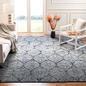 Safavieh Madison Collection MAD604G Navy and Silver Distressed Ogee Area Rug (9' x 12')