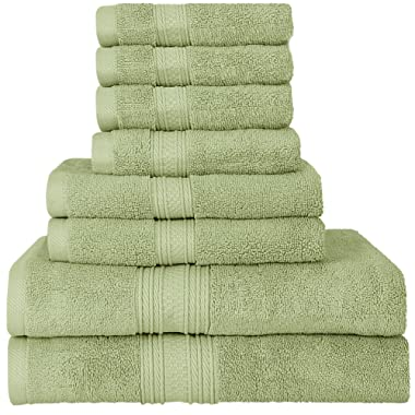 Utopia Towels Luxurious 700 GSM Thick 8 Piece Towel Set Sage Green; 2 Bath Towels, 2 Hand Towels and 4 Washcloths - 100% Ring-Spun Cotton, Hotel Quality for Maximum Softness and High Absorbency