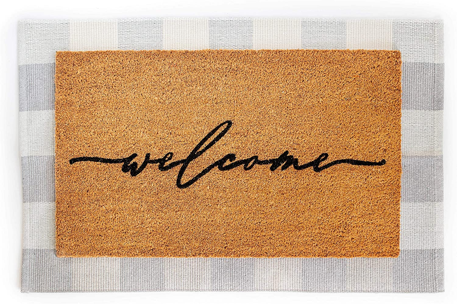 Layered Outdoor Welcome Mat Set - Coconut Coir (18-inch x 30-inch) and Woven Doormat (24-inch x 35-inch) Combo Inside or Outside Pet Friendly Rug for Entry Porch, Deck, Patio, or Mudroom (Gray Check)
