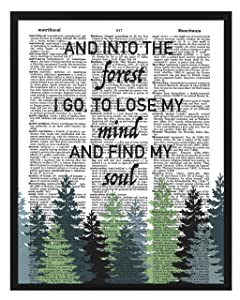 Inspirational Dictionary art print And into the forest I go, to lose my mind and find my soul Nature lovers home decor 8x10