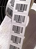 "Consecutive Barcode Labels 0001 to 1000 1 1/2"" x 1"" Paper Permanent Adhesive"