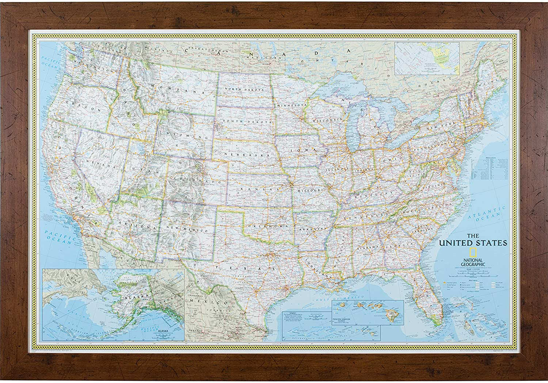 Craig Frames Wayfarer, Classic United States Push Pin Travel Map