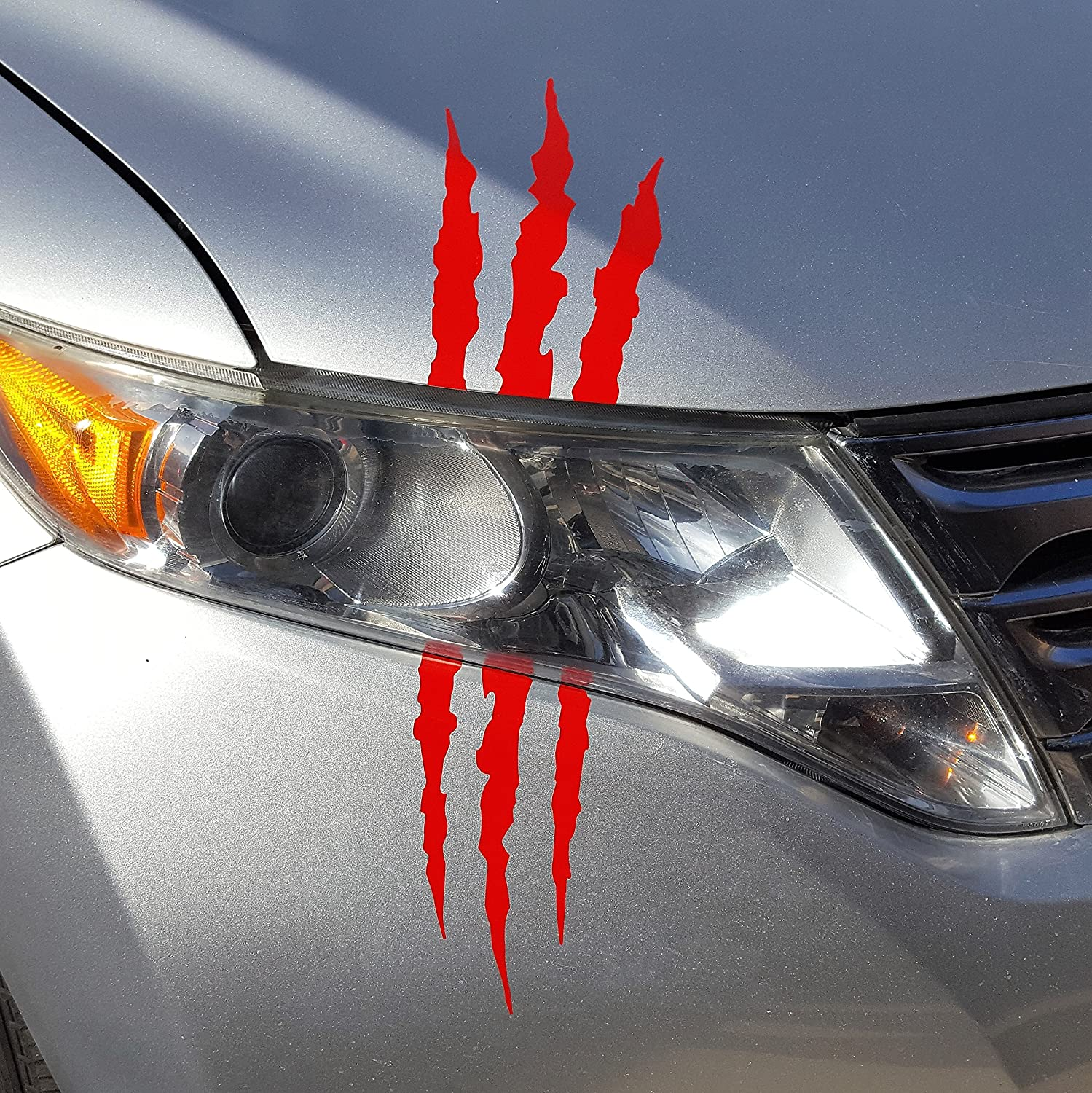 Amazon com az auto graphics claw decal headlight monster scar kit marks tear scratch car truck sticker red automotive