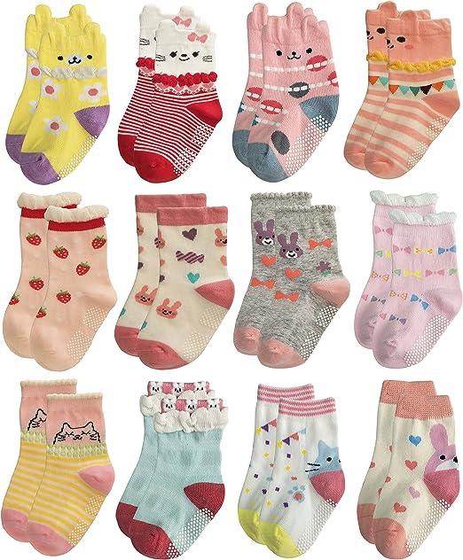 3 Pairs Girls Socks Toddler Shoe Size 6-8 Kids Baby Fashion Assorted Crew Cotton