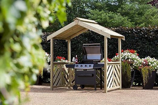 Barbacoa de madera HGG refugio – Patio al aire libre muebles de jardín de madera maciza...: Amazon.es: Jardín
