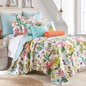 Levtex Home Malana Quilt Set King Quilt Two King Pillow Shams Tropical Green Coral Plum Teal Quilt 106x92in And Pillow Shams 36x20in Reversible Cotton Fabric Home Kitchen