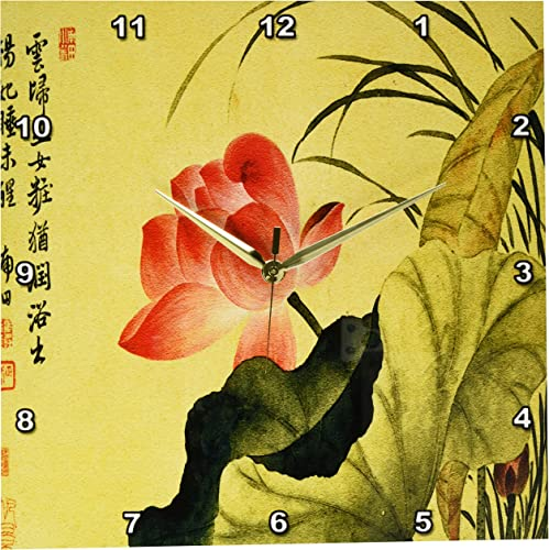 3dRose DPP_126518_2 Lotus Flower by Yun Shouping Japanese Art Wall Clock, 13 by 13-Inch