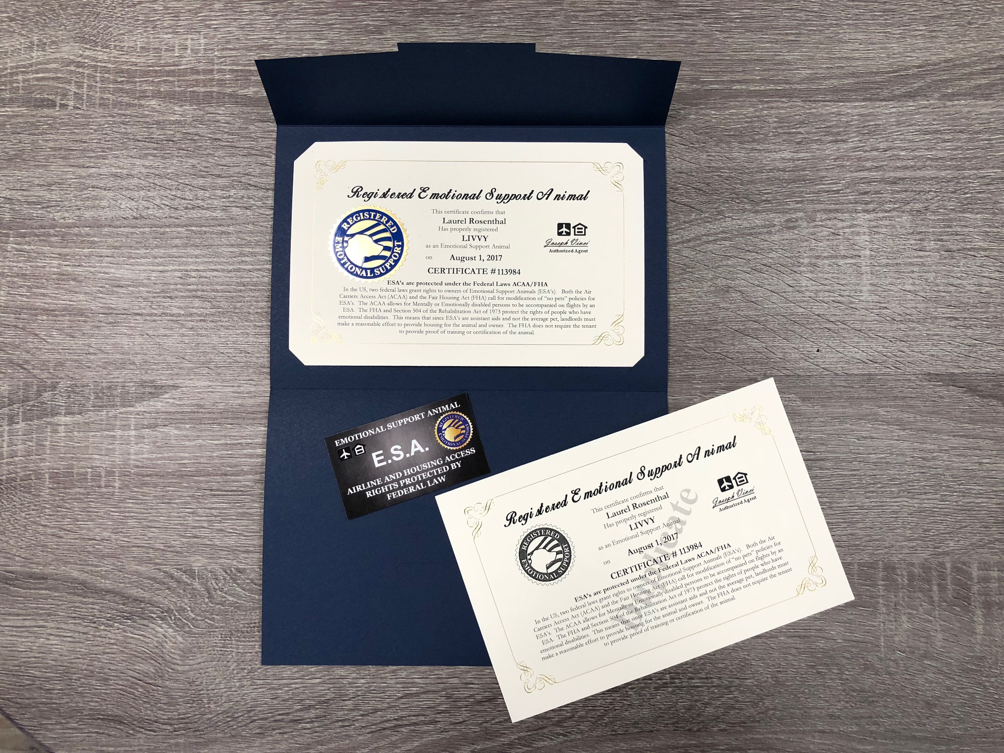 Image of: America Working Service Dog Brand Official Emotional Support Animal Esa Certificate Customized With You And Your Pets Information And Certificate Date Free Kind Of Letters Working Service Dog Brand Official Emotional Support Animal Esa