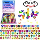Fun Little Toys 100 PCs Self-ink Stamps Box for Christmas, Kids Birthday Party Supply, Pinata Toy, Carnival Prizes, Goodie Bags