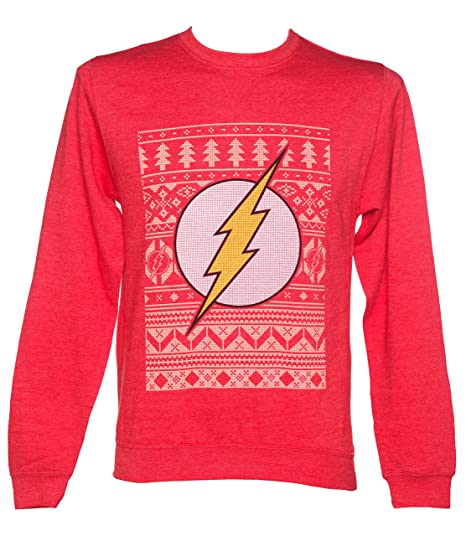 Unisex Red Dc Comics Flash Fair Isle Christmas Sweater Amazonca