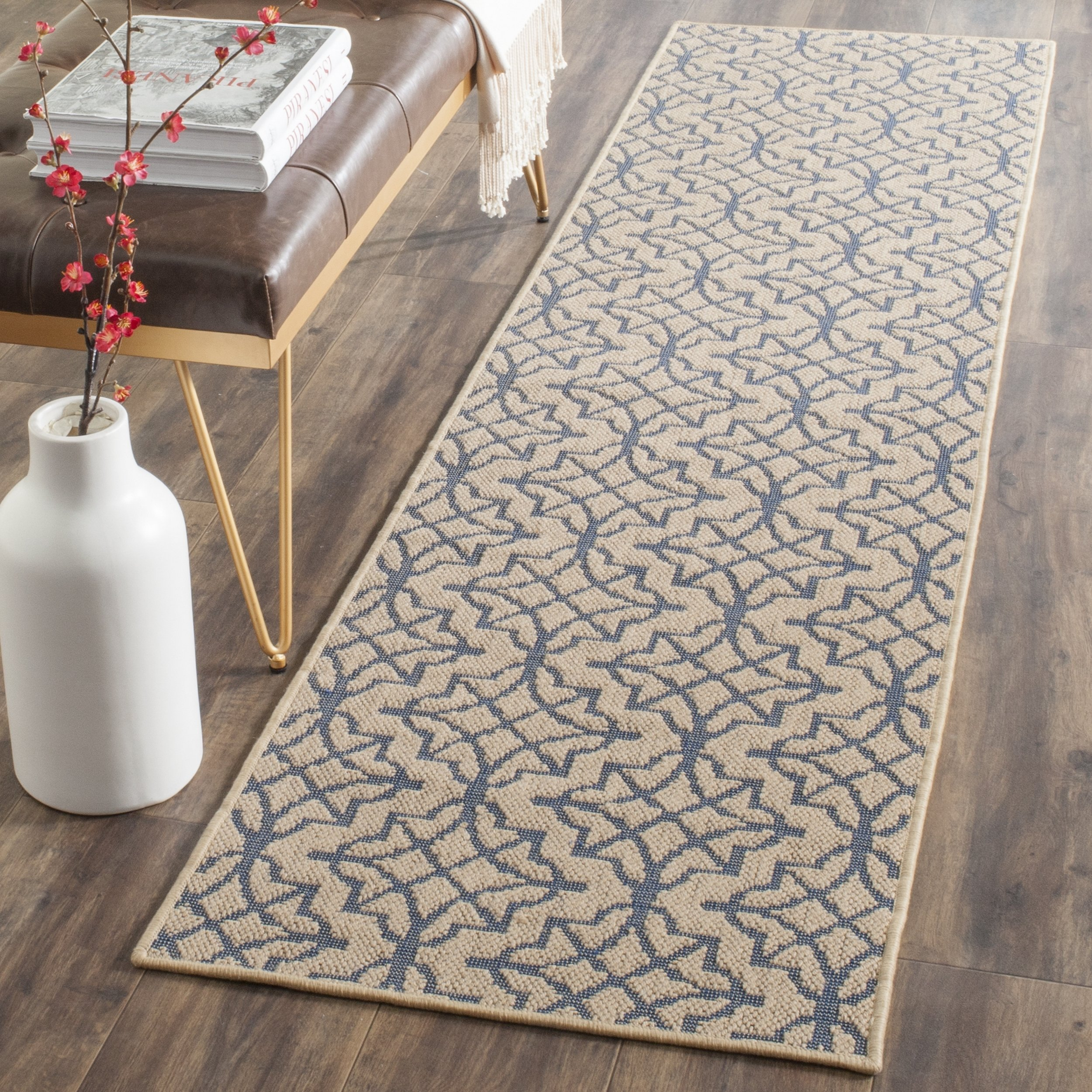 Safavieh Palm Beach Collection PAB513A Hand Woven Natural and Black Jute Runner (2' x 8')