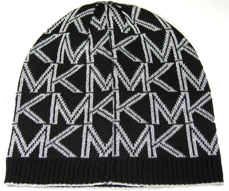 Michael Kors Hat Knit Beanie Women s Dazzling MK Classic Logo Black and  Metallic Silver at Amazon Women s Clothing store  f448090004d