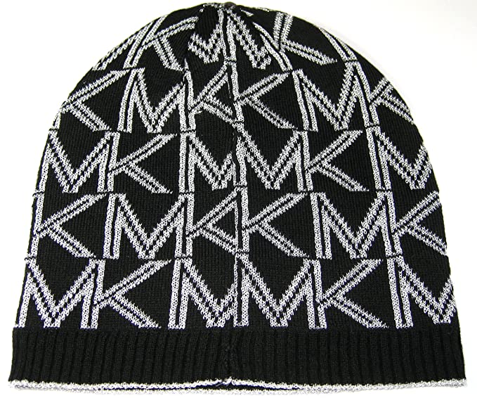 2107e9cbf Michael Kors Hat Knit Beanie Women's Dazzling MK Classic Logo Black ...