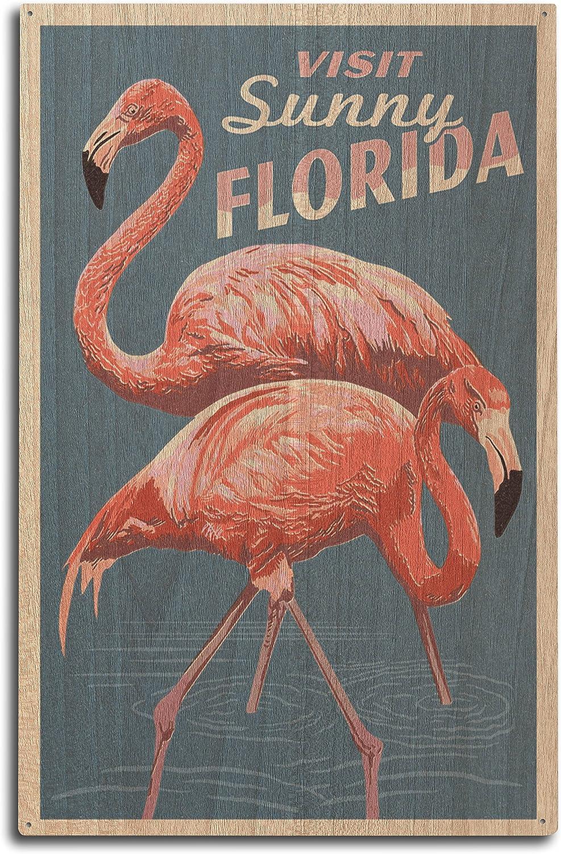 Visit Sunny Florida, Flamingo, Letterpress 50323 (10x15 Wood Wall Sign, Wall Decor Ready to Hang)