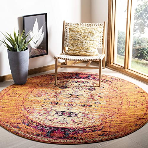 Safavieh Monaco Collection MNC209H Modern Abstract Vibrant Orange and Multi Distressed Area Rug 6'7″ Diameter