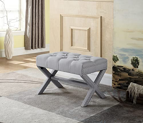 Iconic Home Paige Updated Neo Traditional Polished Nailhead Tufted Linen X Ottoman