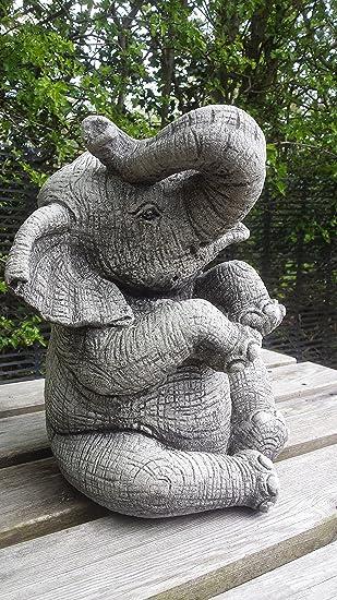 LARGE ELEPHANT (TRUNK UP)   HAND CAST STONE GARDEN ORNAMENT / STATUE /  SCULPTURE