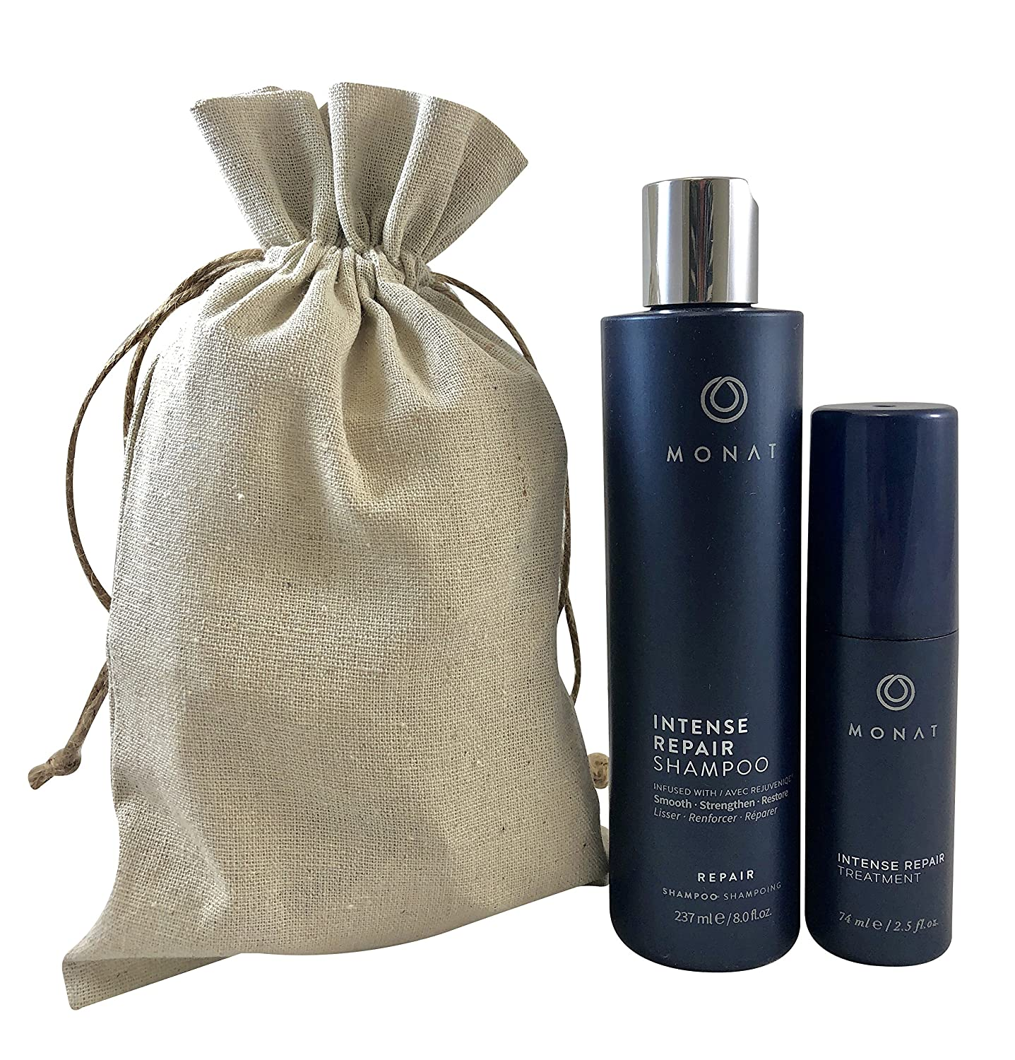 Monat Regrowth (Let it Grow) System - Intense Repair Shampoo and Intense Repair Hair Treatment Bundle with Free Linen Bag