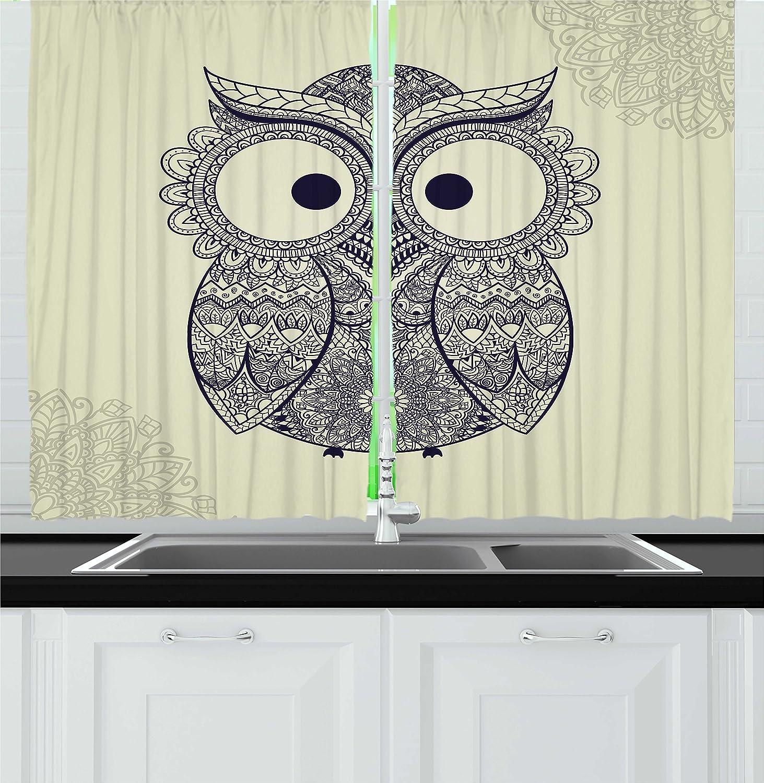 Ambesonne Ethnic Kitchen Curtains Design Illustration Owl With Flowers Owl Bird Ornamental Pattern Window Drapes 2 Panel Set For Kitchen Cafe Decor 55 X 39 Eggshell Dark Blue Home Kitchen