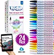 PINTAR - Acrylic Fine Tip Paint Pens for Rock Painting Art - 24 Pack Vibrant Colors for Wood, Glass, Metal and Ceramic - Water Resistant and Quick Drying Ink for Arts & Crafts