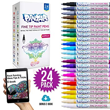 Pintar 24 Pack Fine Tip Paint Pens For Rock Painting Art Acrylic Fine Point Pens For Wood Glass Metal And Ceramic Water Resistant And Quick