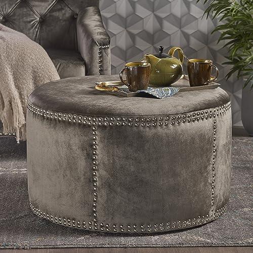 Christopher Knight Home Jaewon Studded Velvet Ottoman, Grey Black