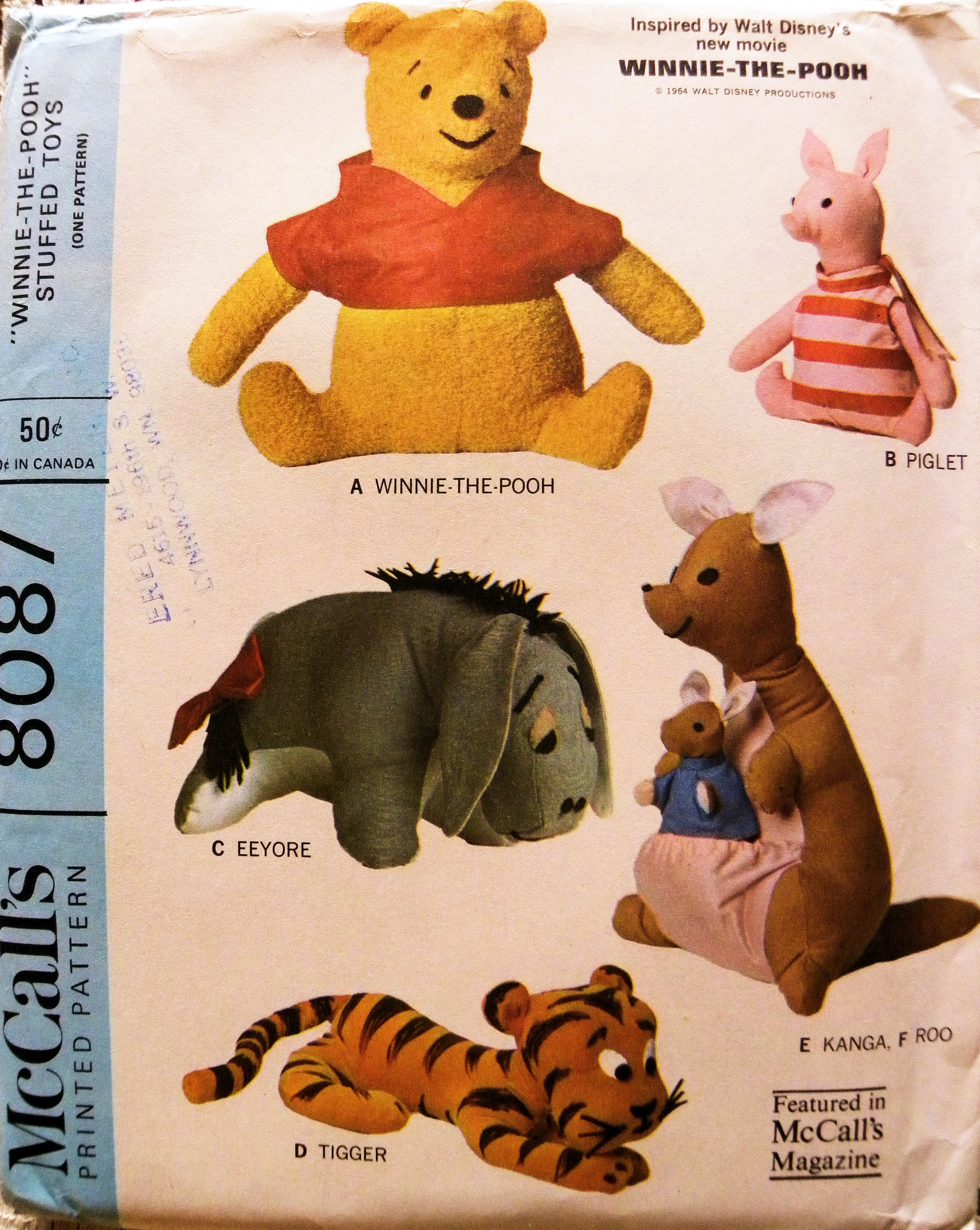 McCalls 8087 Winnie the Pooh Eeyore Piglet, Tigger, Kanga and Roo Stuffed Toy Sewing Pattern Vintage 1965 Walt Disney by McCall's