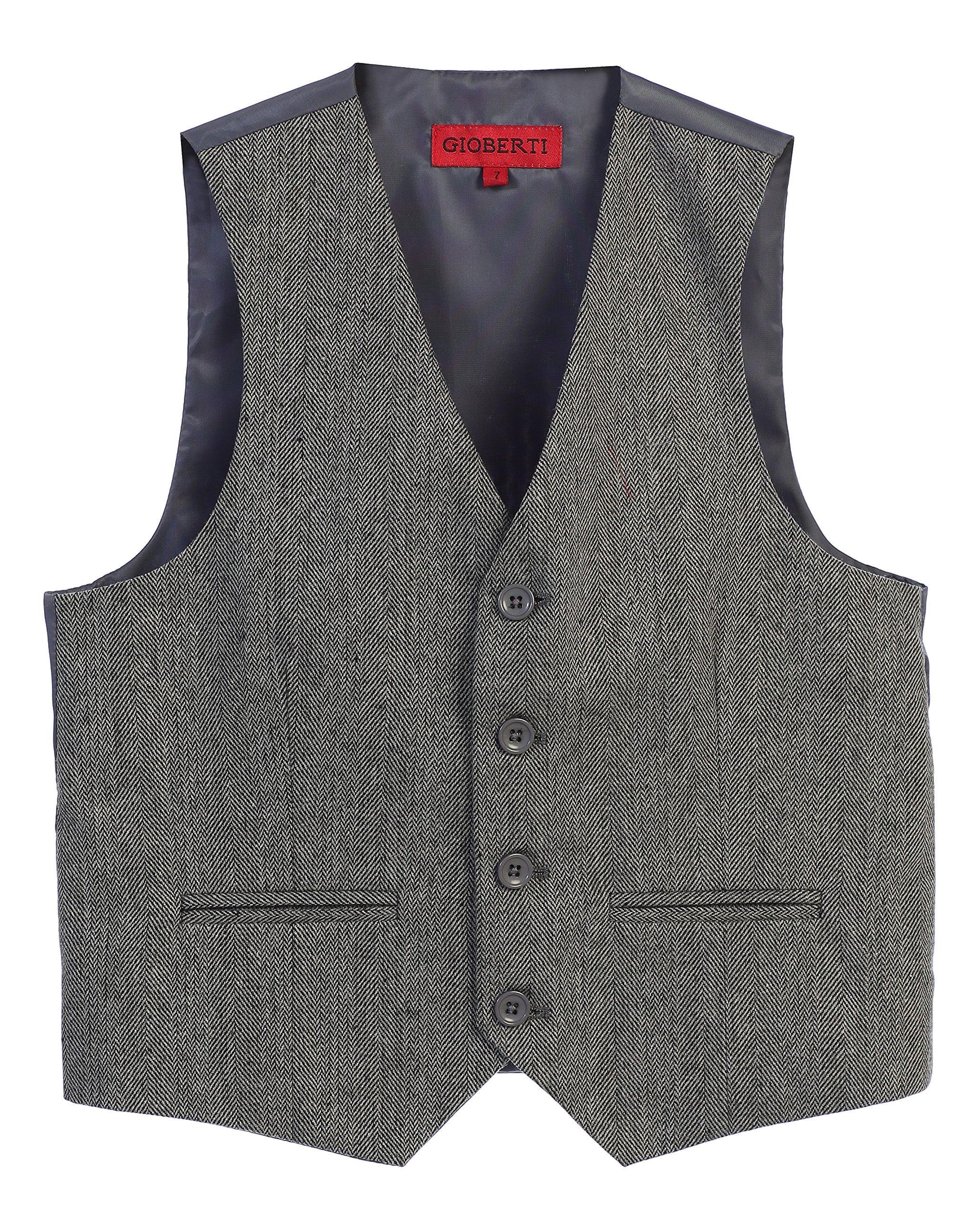 Gioberti Boy's Tweed Plaid Formal Suit Vest, Herringbone Gray, Size 8