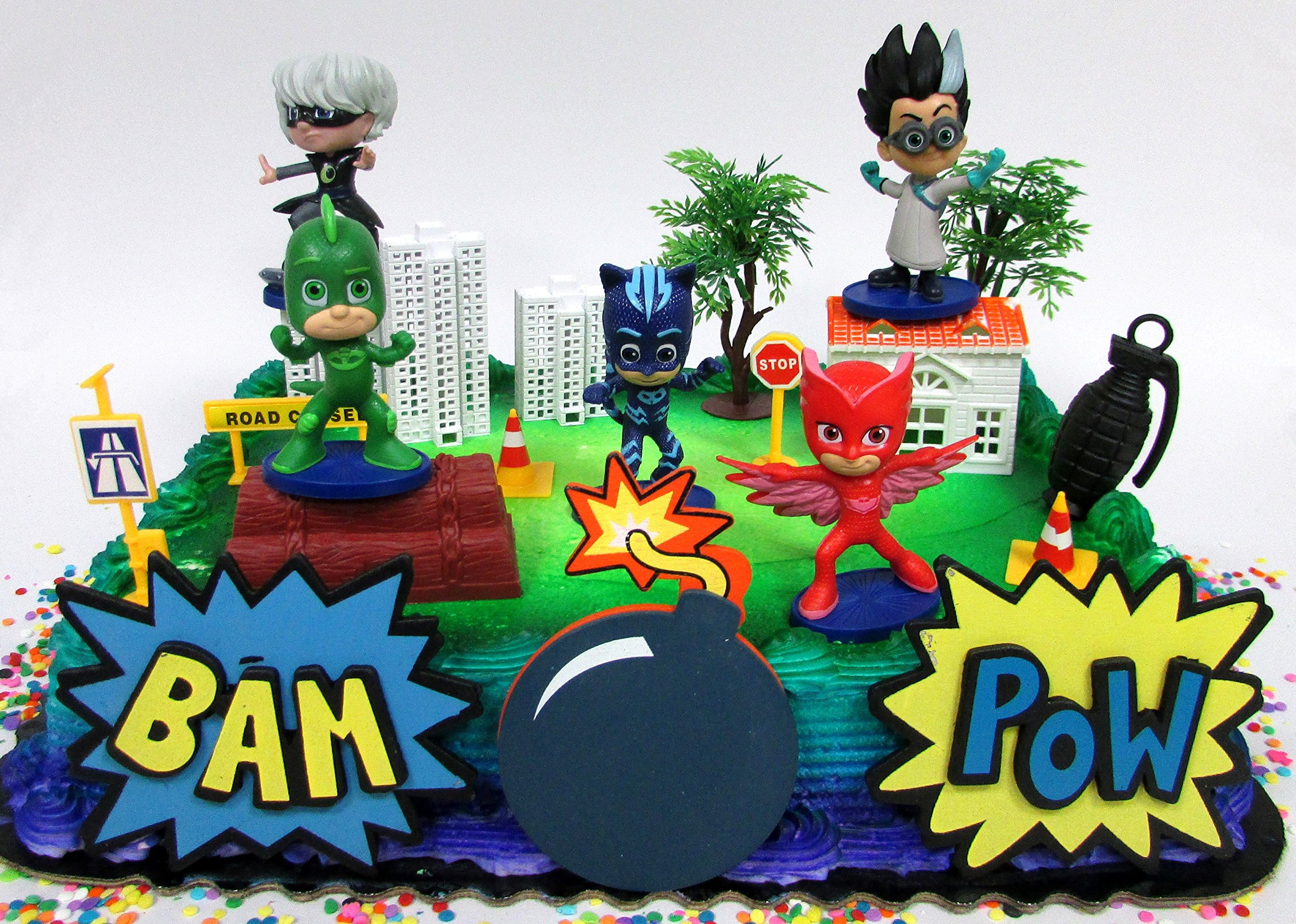 Super Hero PJ MASKS Deluxe Birthday Party Cake Topper Set Featuring
