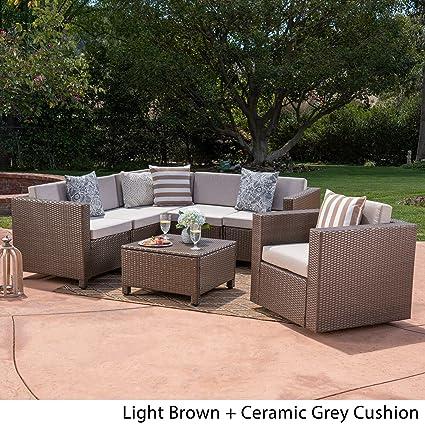 Miraculous Amazon Com Christopher Knight Home Puerta Outdoor 6 Seater Spiritservingveterans Wood Chair Design Ideas Spiritservingveteransorg