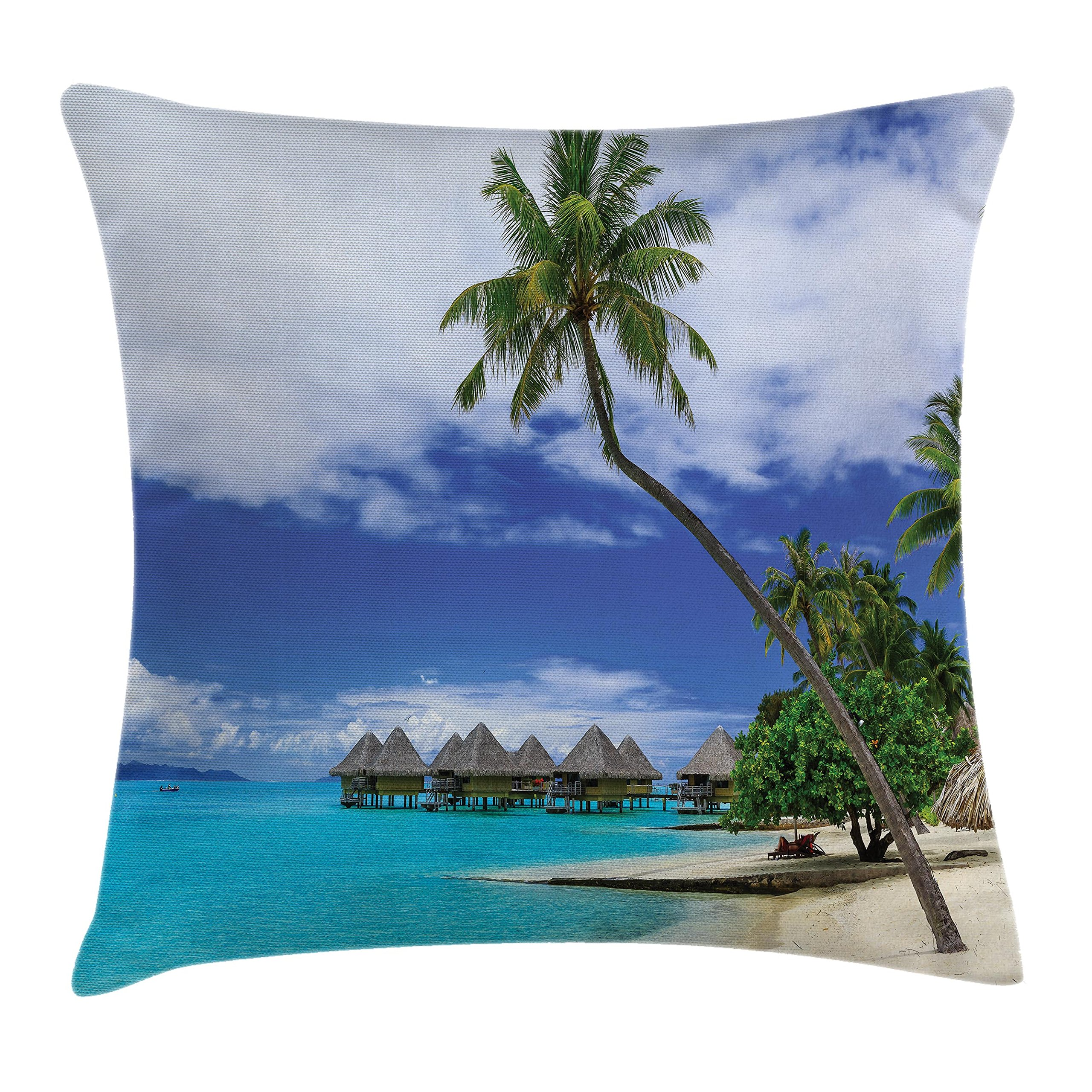 Ambesonne Tropical Decor Throw Pillow Cushion Cover, Over-Water Bungalows of Resort Bora Bora Island Pacific Ocean Panorama, Decorative Square Accent Pillow Case, 16 X 16 Inches, Green Blue White