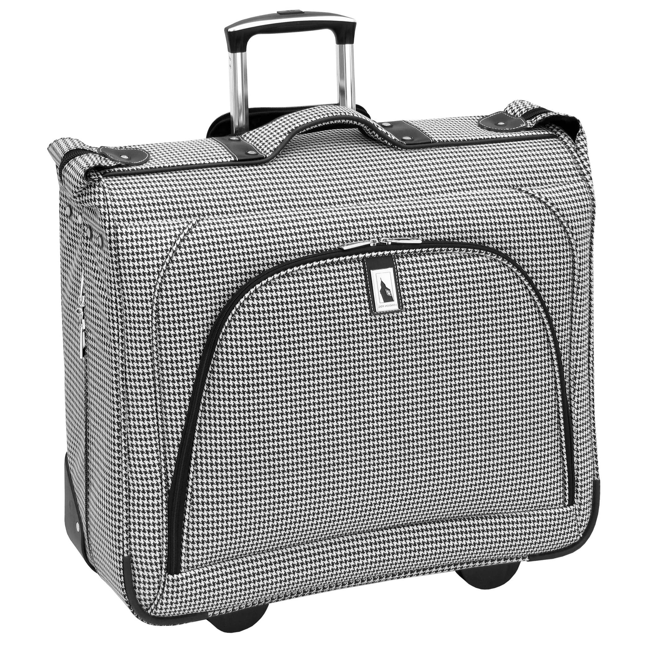 Exotic Hounds Tooth Motif Spinner Lightweight Expandable Carry On Luggage Suitcase, Soft Geometric Tribal Ikat Theme, Softsided, Fashion, Multi Compartment, Garment Travel Case, White, Black, Size 44'' by S & E