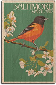 Baltimore, Maryland, Oriole Letterpress (10x15 Wood Wall Sign, Wall Decor Ready to Hang)