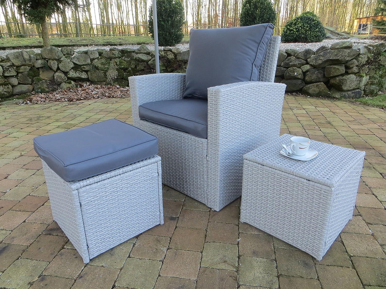Wetterfestes Lounge Set Coffee, ein Sessel, ein Tisch und ein Hocker inkl. Auflagen aus dem Hause Pure Home & Garden