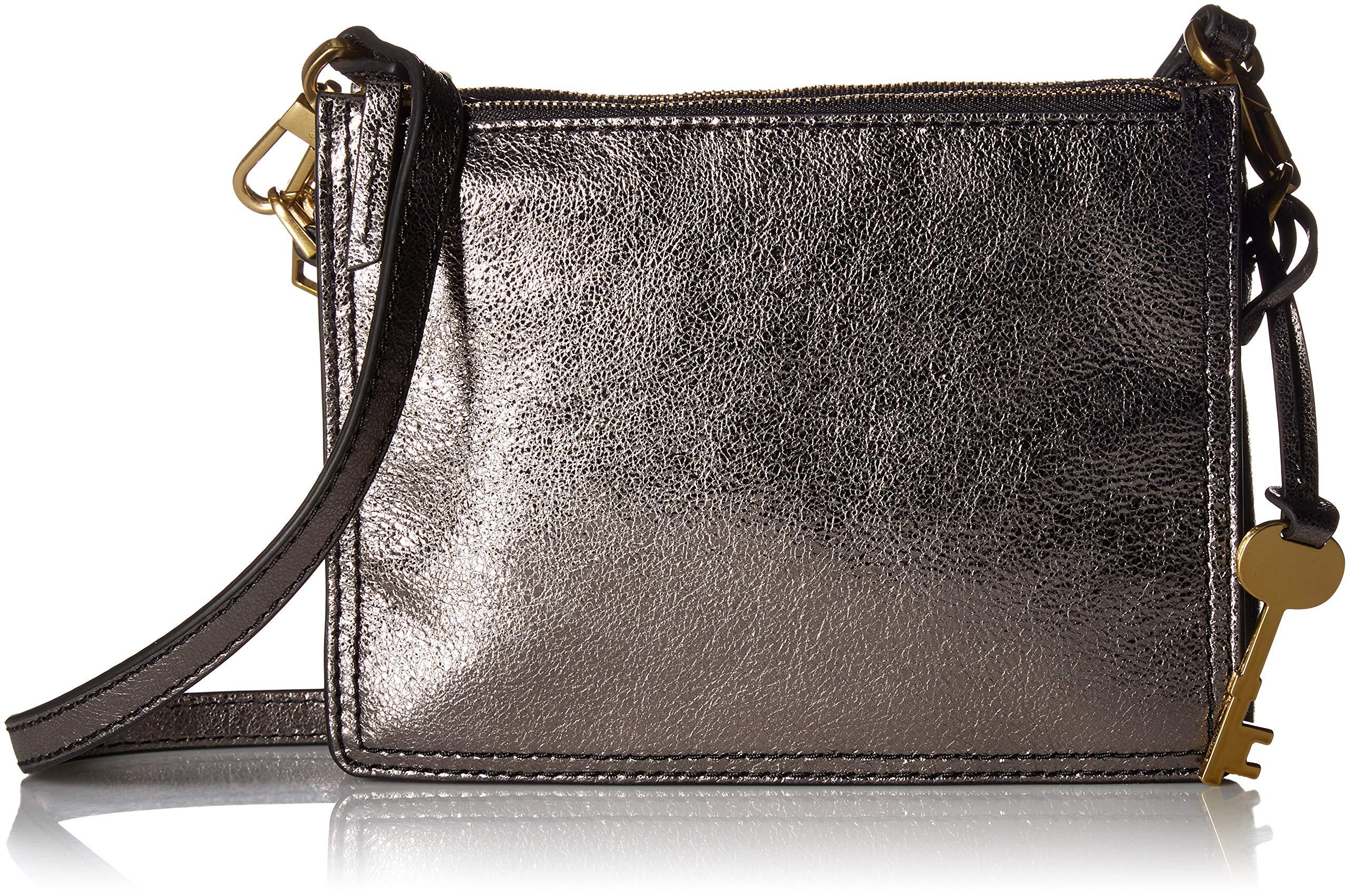 Fossil Campbell Crossbody Bag, Metallic Chrome