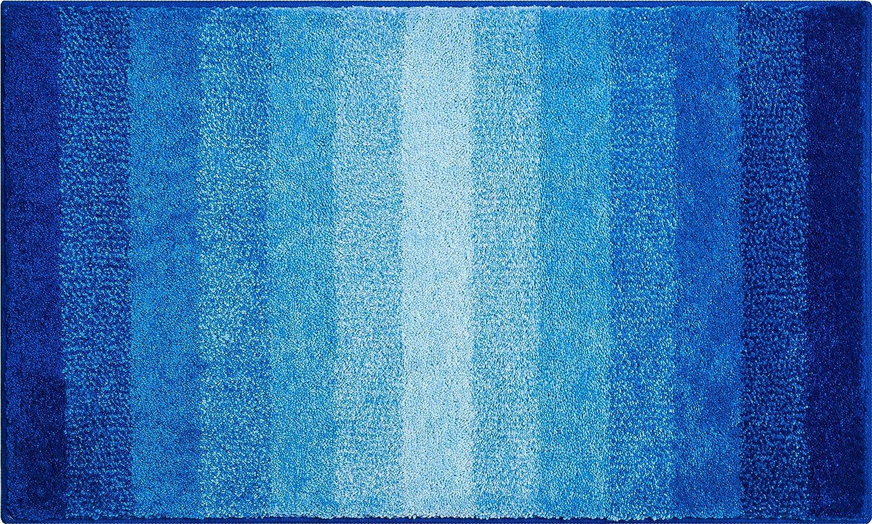 Grund Badteppich 100% Polyacryl, ultra soft, rutschfest, ÖKO-TEX-zertifiziert, 5 Jahre Garantie, RIALTO, Badematte 80x140 cm, blau