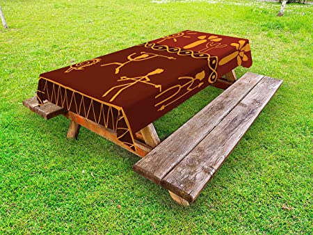 Lunarable Mantel de Picnic Decorativo Lavable para Exteriores ...