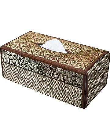 Funda para caja de pañuelos de trenzado de caña hecha con materiales sostenibles y ecológicos y
