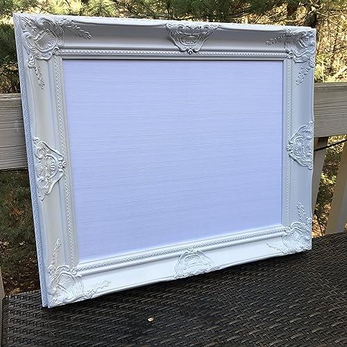 Amazon.com: White Ornate White Fabric MAGNETIC Framed Bulletin Board ...