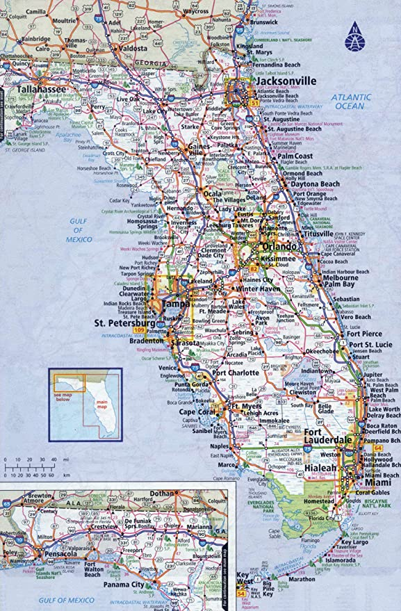 Large Map Of Florida Amazon.com: Home Comforts Large Detailed Roads and Highways map of