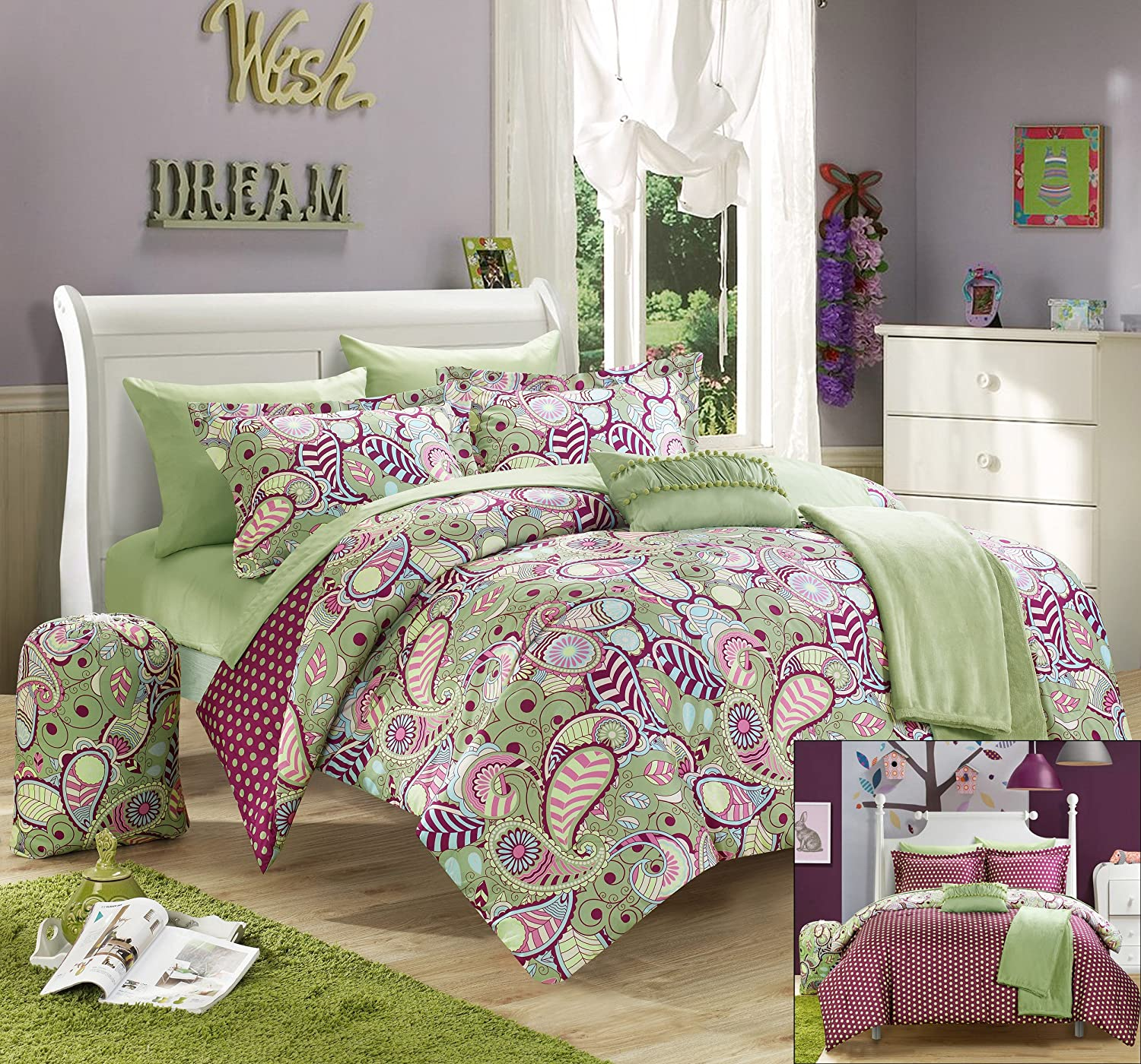 Chic Home 8 Piece Princess Paisley and Polka Dot Printed Reversible Comforter