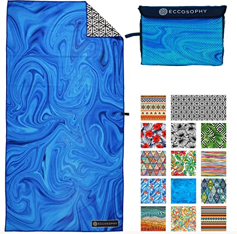 Large Sand Free Micro Fiber Beach Towels Lightweight Compact Beach Accessories for Women ECCOSOPHY Microfiber Beach Towel Quick Dry Pool Towels 71x35 inches Oversized Travel Towel