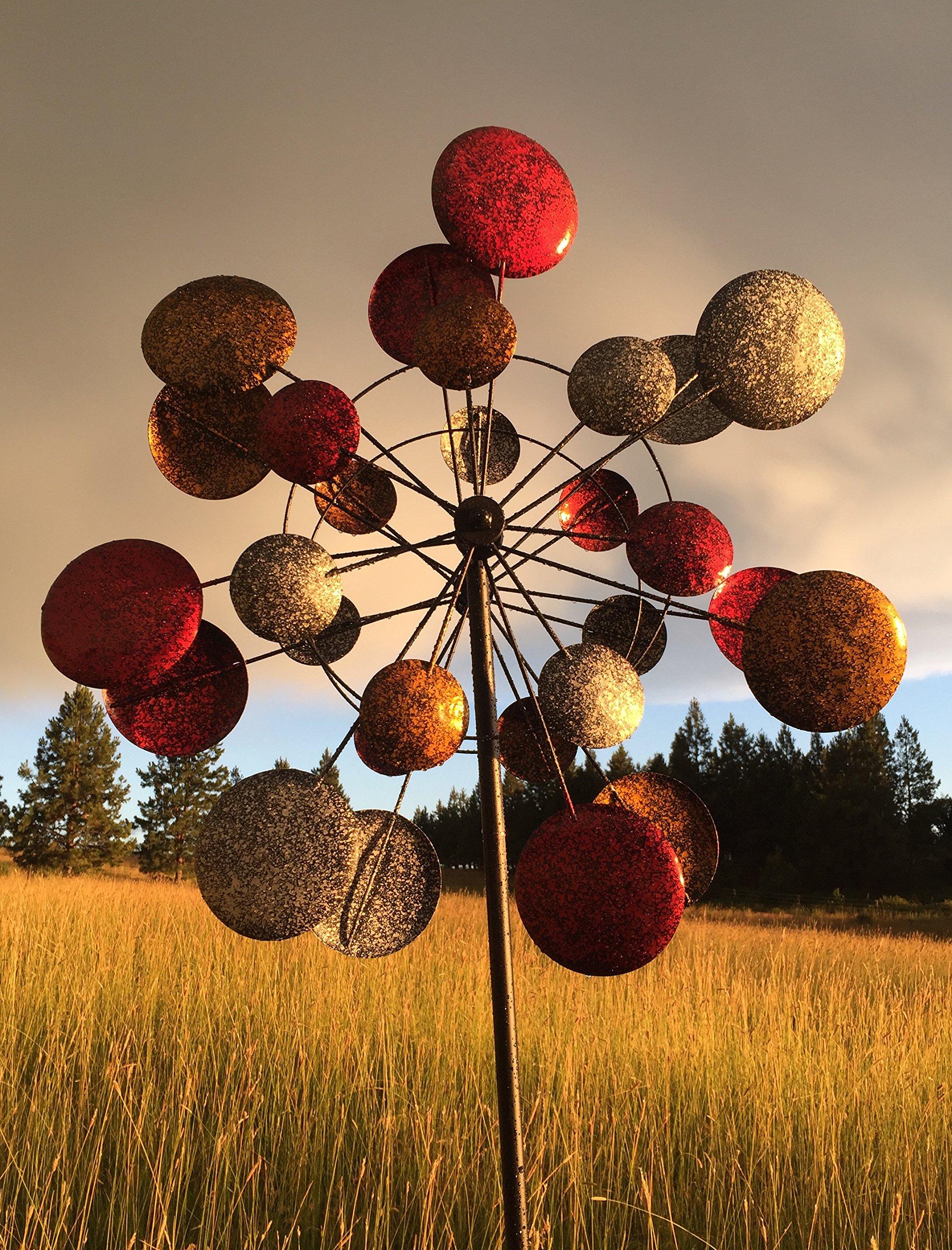 Kinetic Wind Sculpture Dual Sun Spinner Metal Large Outdoor Modern ...