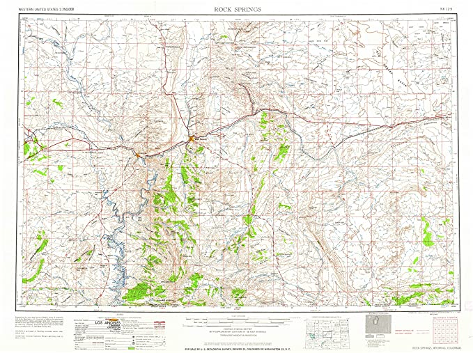 Rock Springs Wyoming Map.Amazon Com Yellowmaps Rock Springs Wy Topo Map 1 250000 Scale 1