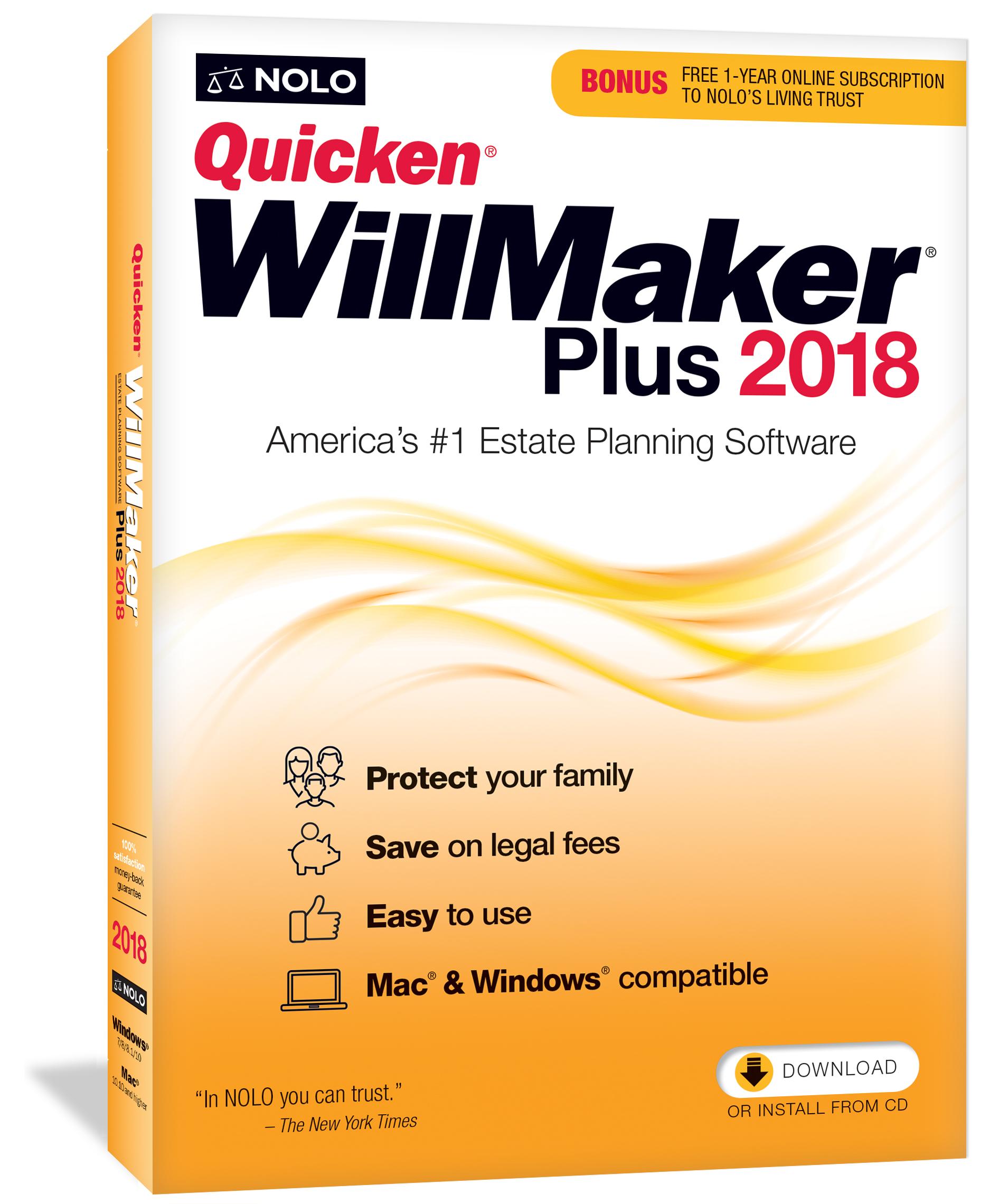 : Quicken WillMaker Plus 2018 (Mac and Windows) [Online Code]