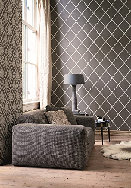 Vlies Tapete Rauten Muster Braun Beige Textil Optik Karo Muster
