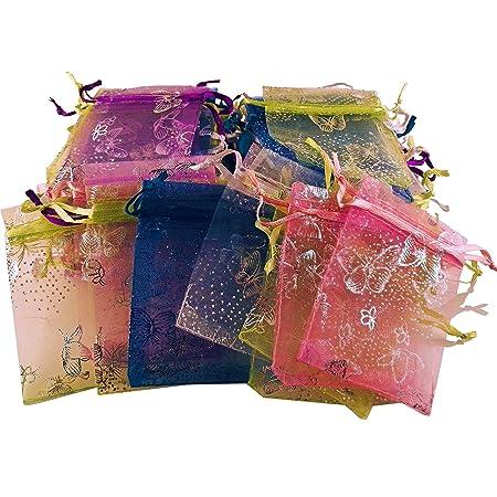 100 pequeños, multicolor bolsas de organza con mariposa ...
